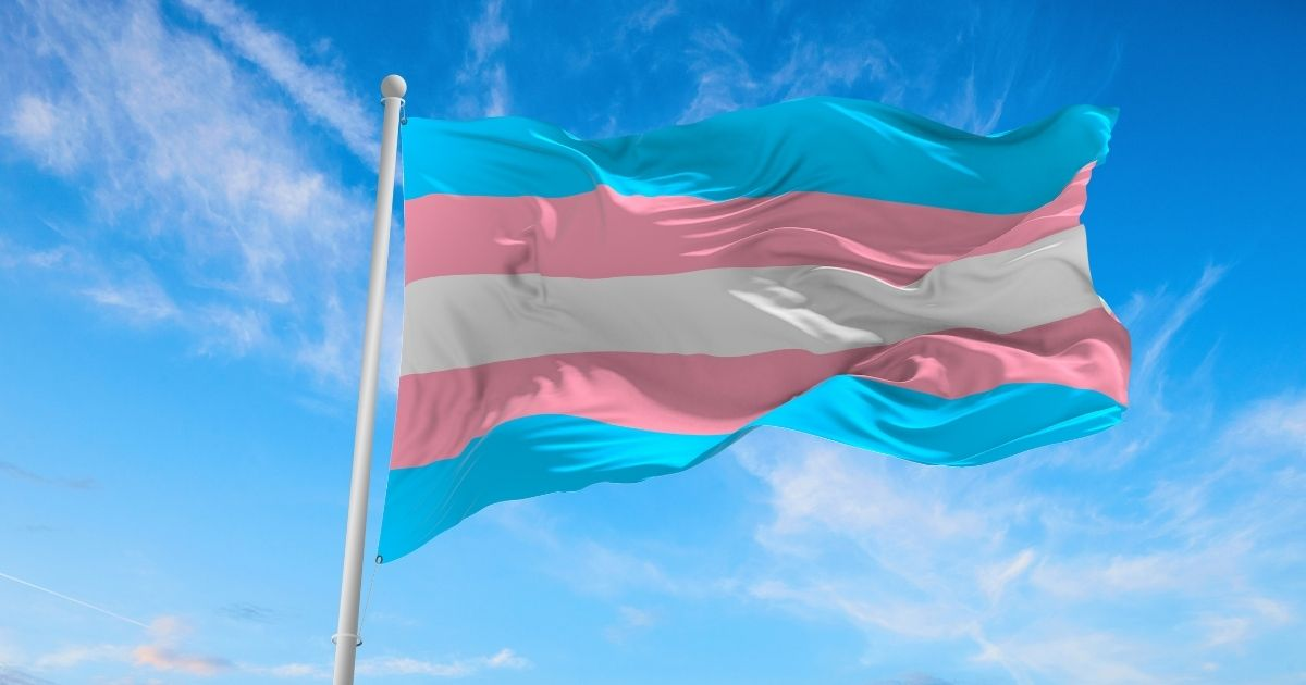 A transgender flag is pictured in the stock image above.