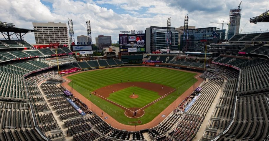 Pictured above is a game between the Atlanta Braves and the Boston Red Sox at Truist Park on Sept. 27, 2020, in Atlanta.