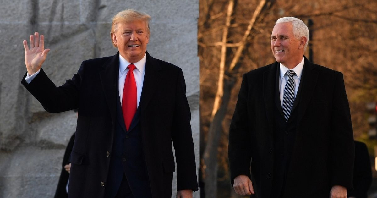 Former President Donald Trump and former Vice President Mike Pence arrive at the Martin Luther King Jr. memorial on MLK day in Washington, D.C., on Jan. 20, 2020.