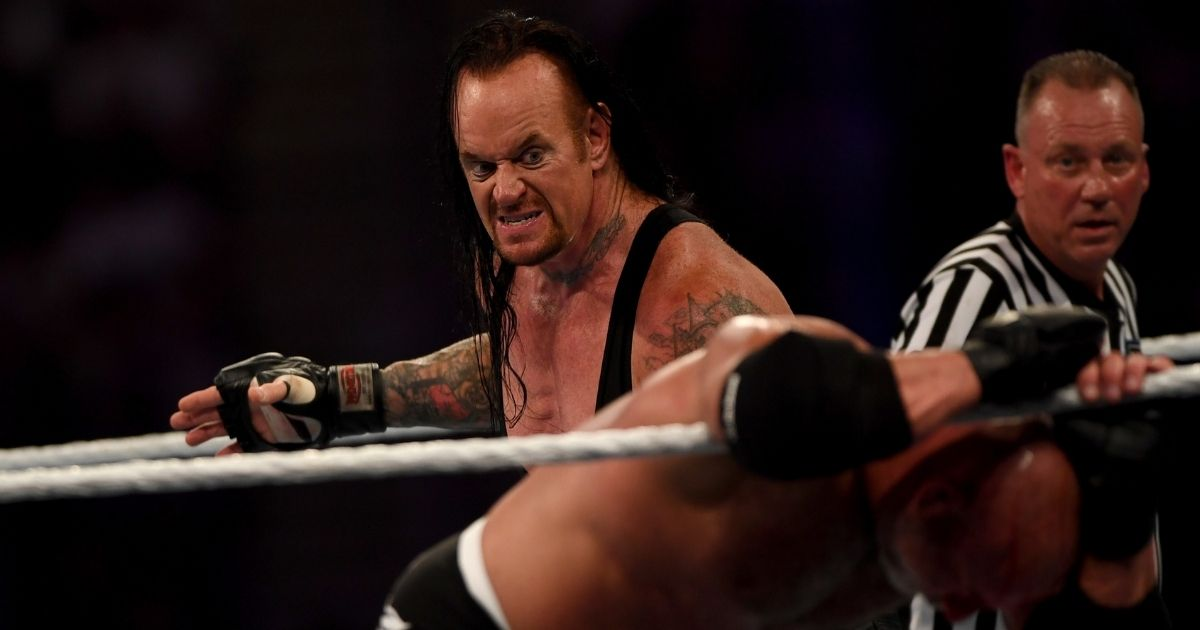 World Wrestling Entertainment star the Undertaker, left, competes against Goldberg in the Super Showdown event in the Saudi Red Sea port city of Jeddah on Jan. 7, 2019.