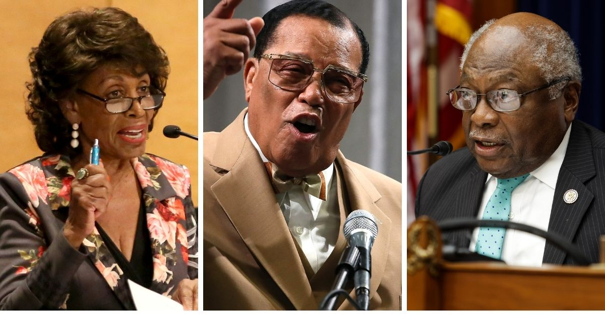 U.S. Reps. Maxine Waters, left, and James Clyburn, right, with Nation of Islam leader Louis Farrakhan, center.