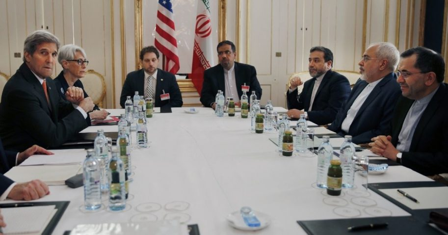 An American negotiating team led by then-Secretary of State John Kerry meets with an Iranian team in 2015 in Vienna.