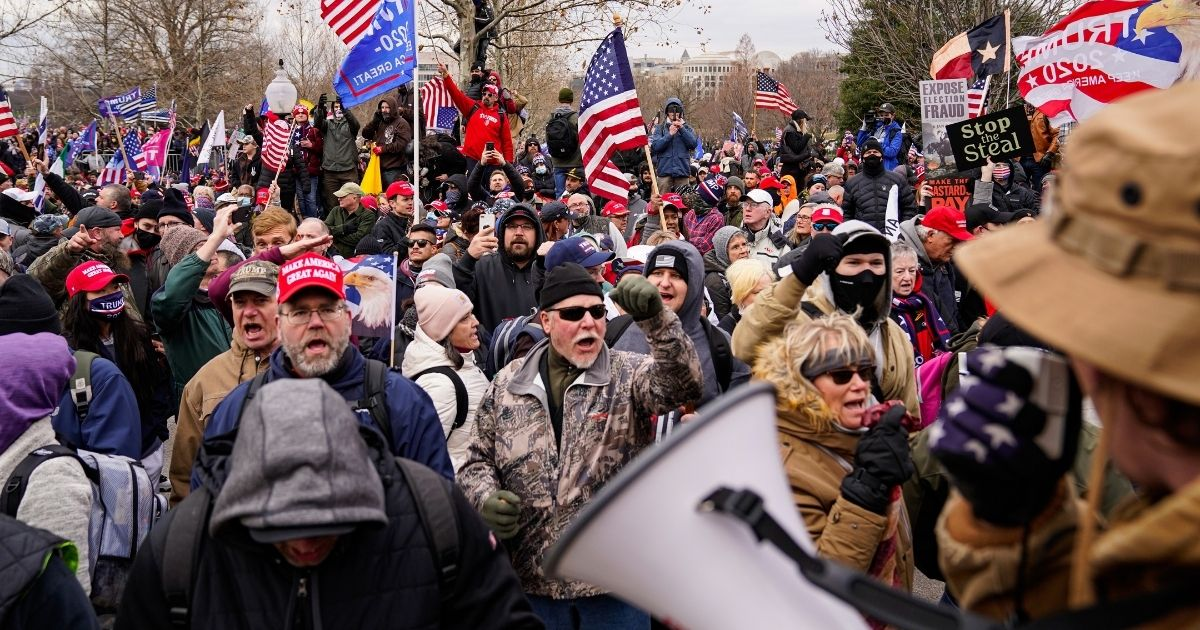 Supporters of then-President Donald Trump gather outside the Capitol Jan. 6.