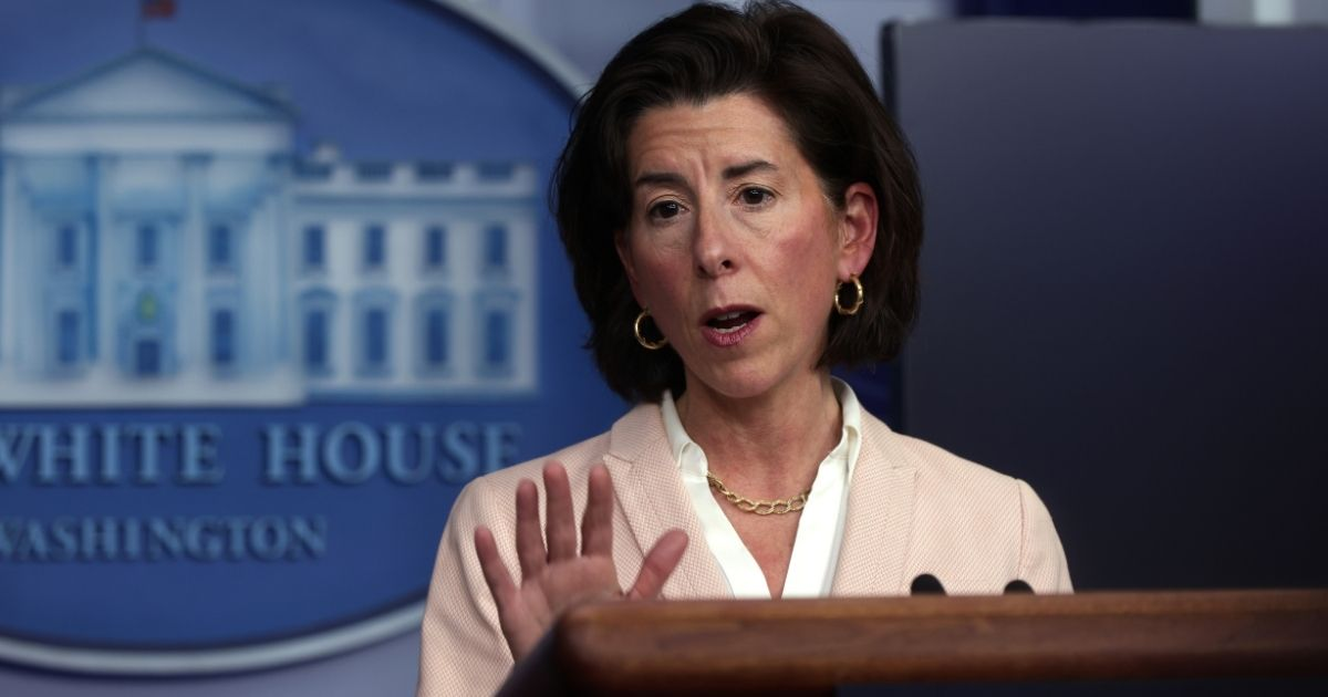 Commerce Secretary Gina Raimondo answers a question Wednesday during a White House news briefing.