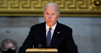 President Joe Biden speaks Tuesday at the Capitol Rotunda service for Capitol Officer William Evans, who was killed on duty in an April 2 attack on the Capitol by a supporter of Nation of Islam Leader Louis Farrakhan.