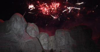 Fireworks explode above Mount Rushmore in Keystone, South Dakota, during an Independence Day weekend event attended by then-President Donald Trump on July 3, 2020.