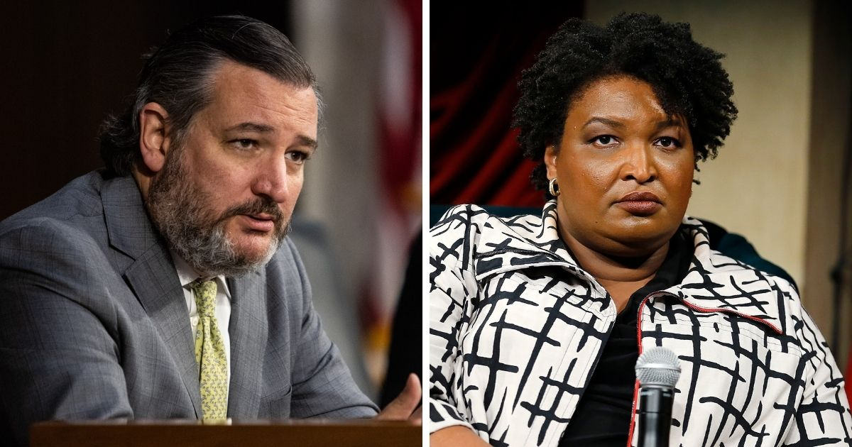 Texas Sen. Ted Cruz, left; former George gubernatorial candidate Stacey Abrams, right.