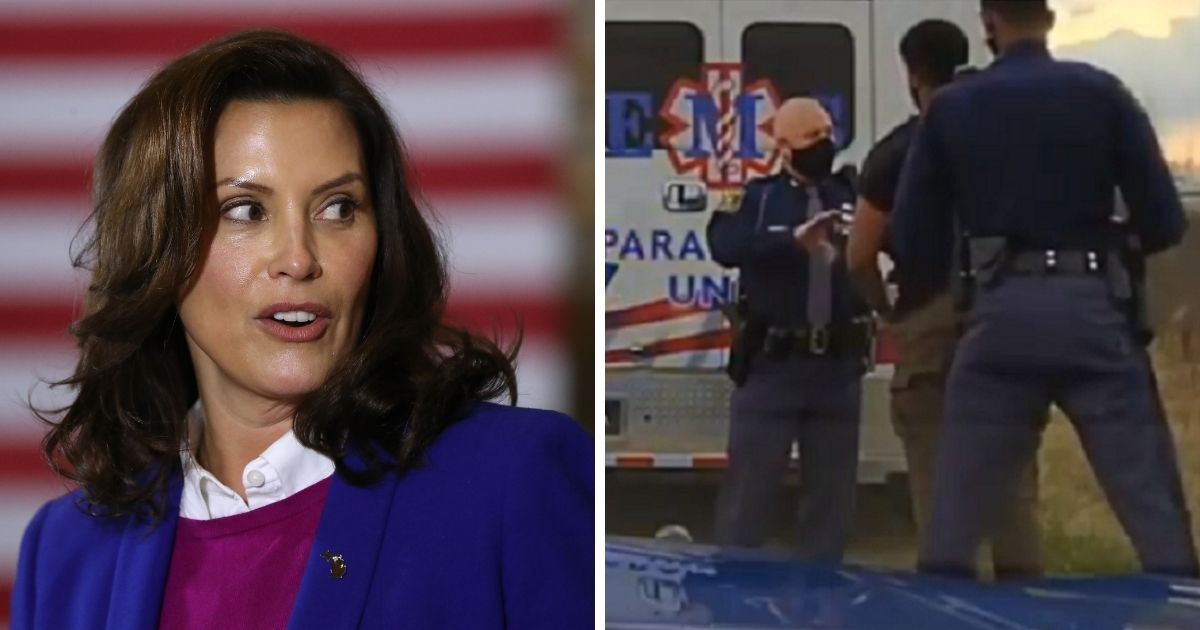 Michigan Gov. Gretchen Whitmer, left; the arrest of state Rep. Jewell Jones, right.