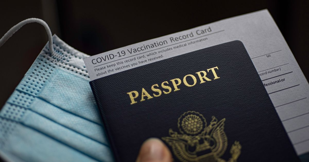 A COVID vaccine passport is pictured in the stock image above.