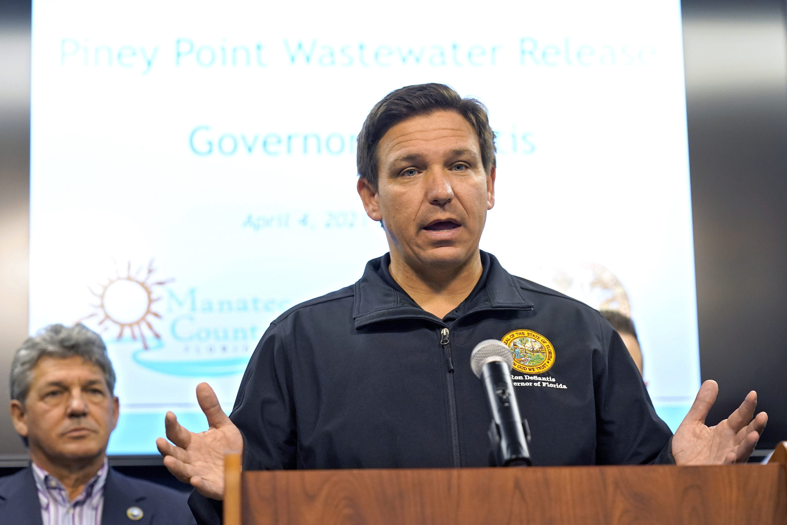 Florida Gov. Ron DeSantis gestures during an April 4 news conference at the Manatee County Emergency Management office in Palmetto, Florida.