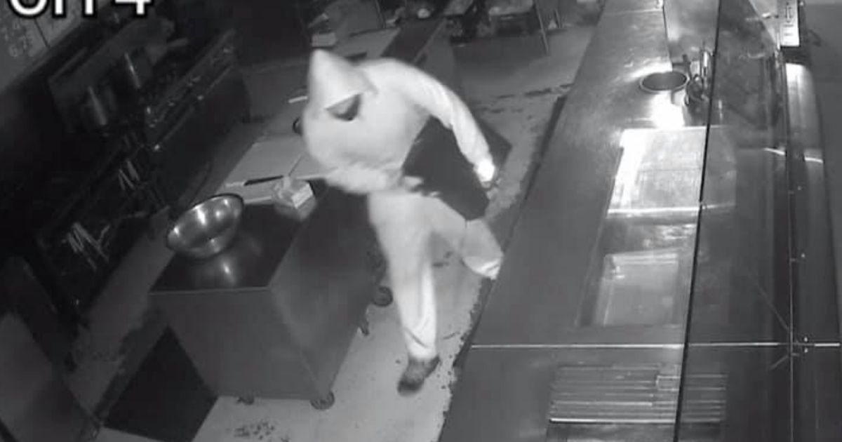 A would-be thief is seen after breaking into Diablo's Southwest Grill in Georgia.