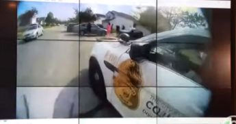 A still from a police bodycam video shows the scene when an officer arrived to a report of an attempted stabbing on Tuesday in Columbus, Ohio.