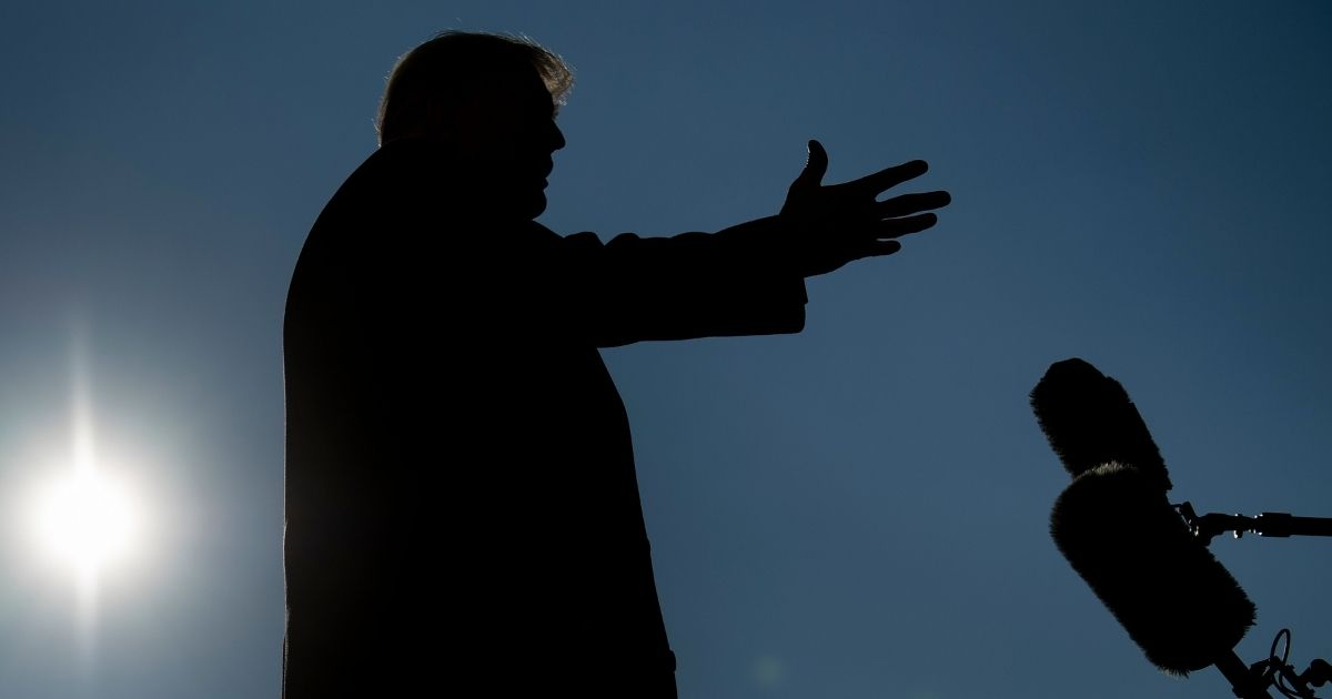 Then-President Donald Trump speaks to the media outside the White House on Jan. 12, 2021, in Washington, D.C.