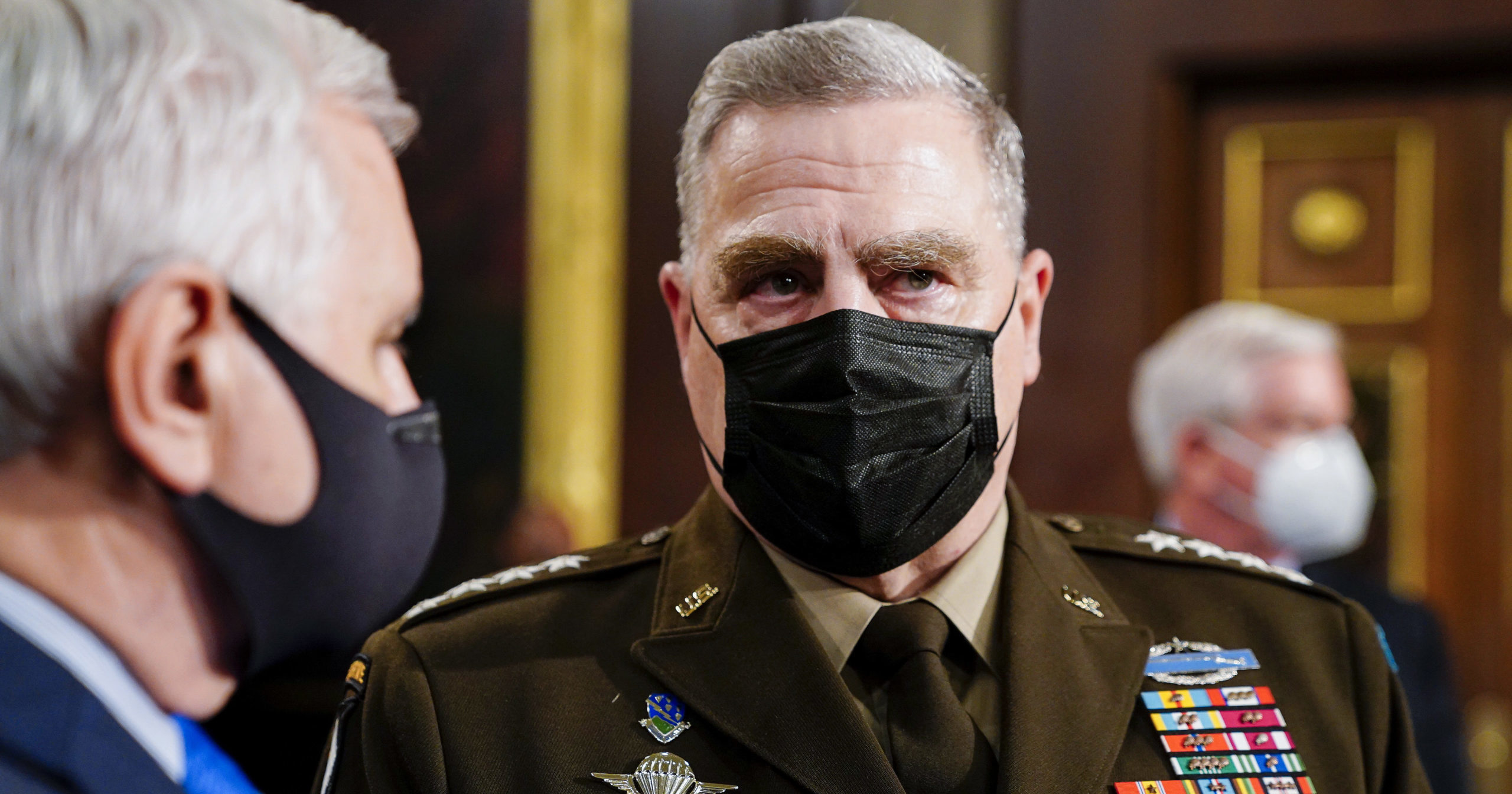 Gen. Mark Milley arrives to the House chamber ahead of President Joe Biden's speech to a joint session of Congress on Wednesday at the U.S. Capitol in Washington, D.C.