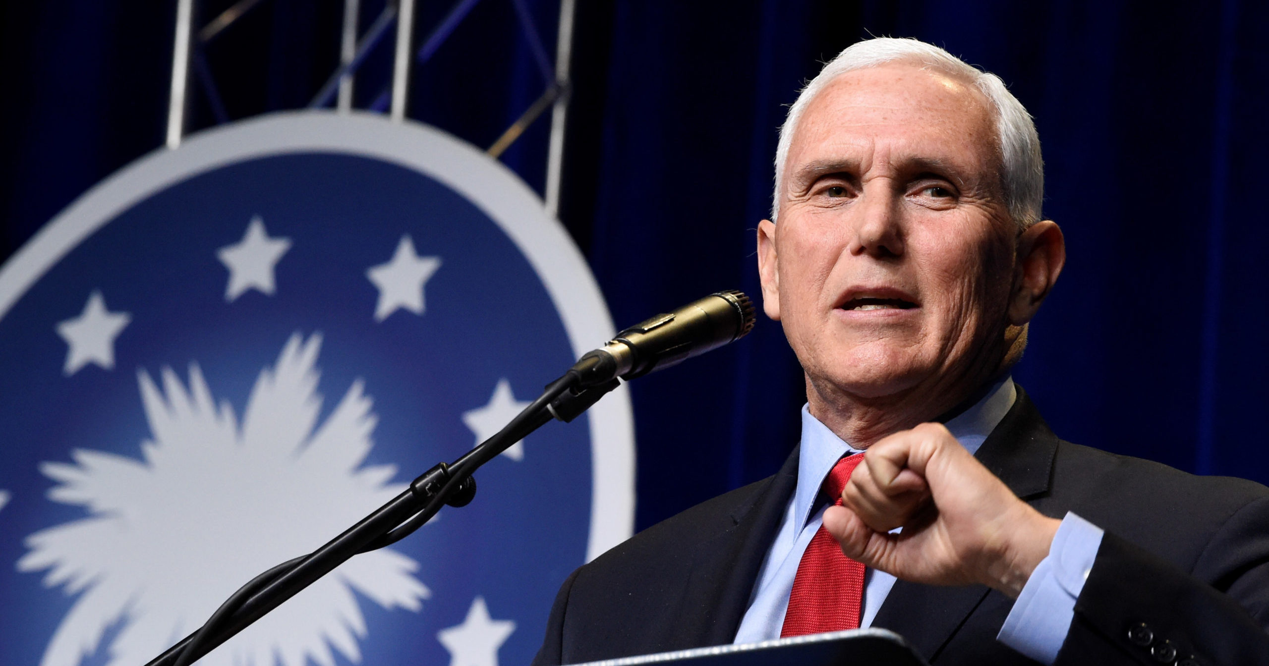 Former Vice President Mike Pence speaks at a dinner hosted by Palmetto Family Council on Thursday in Columbia, South Carolina.