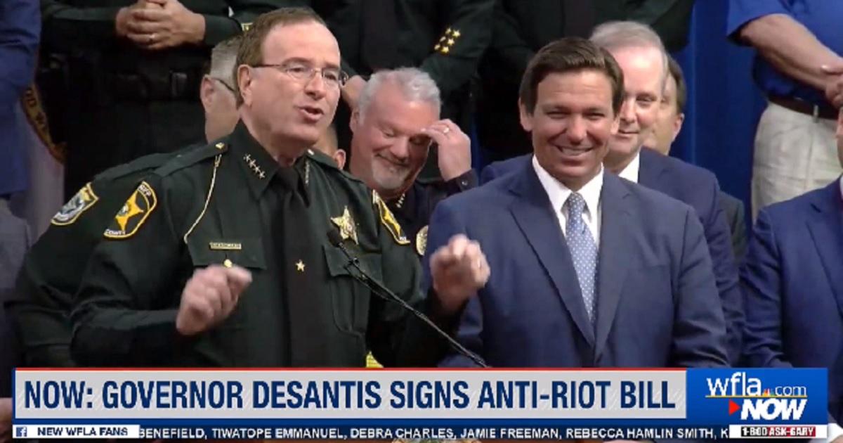 Polk County, Florida, Sheriff Grady Judd with Florida Gov. Ron DeSantis.