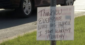A sign was left on a street corner in Seneca, New York, where a man named Kevin used to stand.