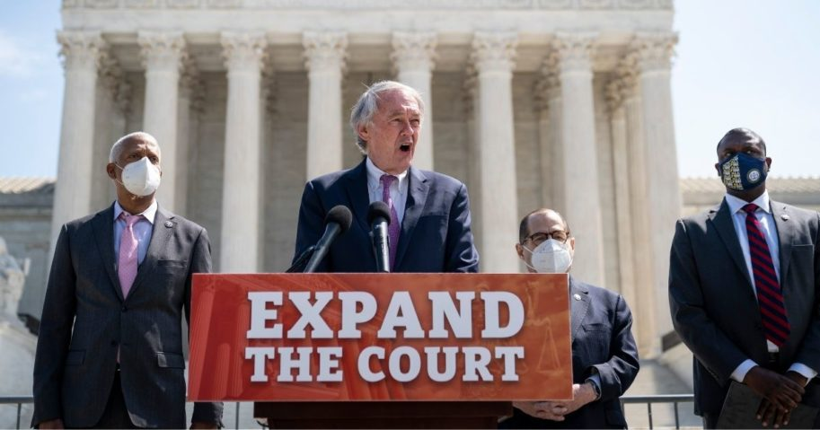 Rep. Hank Johnson of Georgia, Sen. Ed Markey of Massachusetts, House Judiciary Committee Chairman Rep. Jerrold Nadler of New York and Rep. Mondaire Jones of New York hold a news conference in front of the US Supreme Court on April 15, 2021, in Washington, D.C.