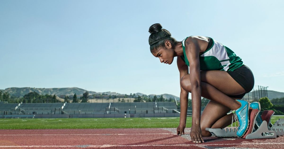 A female track athlete is seen in this stock image.