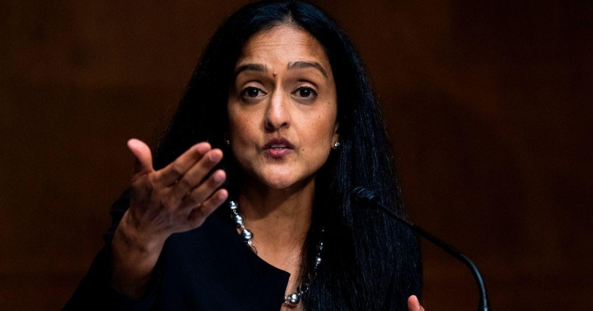 Vanita Gupta testifies during a Senate Judiciary Committee hearing in the Dirksen Senate Office Building in Washington, D.C., on June 16, 2020.