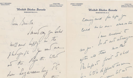 A letter from John F. Kennedy to a Swedish paramour is seen in this photo.