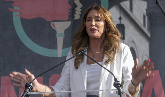 Caitlyn Jenner speaks at the Women's March in Los Angeles on Jan. 18, 2020.