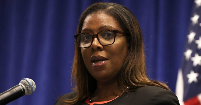 New York state Attorney General Letitia James speaks during a news conference in New York City on Aug. 6.
