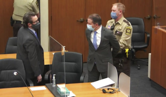 In this April 20, 2021 file image from video, former Minneapolis police officer Derek Chauvin, center, is taken into custody as his attorney, Eric Nelson, left, looks on, after the verdicts were read at Chauvin's trial for the 2020 death of George Floyd at the Hennepin County Courthouse in Minneapolis, Minnesota.