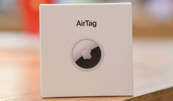 A boxed AirTag is on display at the Apple Store George Street on April 30, 2021, in Sydney, Australia.