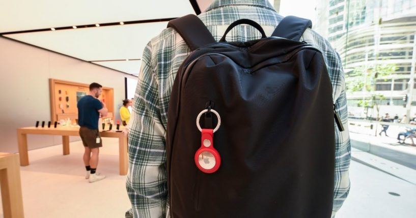 A key ring containing an AirTag attached to a rucksack inside the Apple Store George Street on April 30 in Sydney.