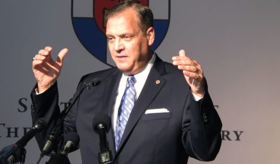 Albert Mohler, president of Southern Baptist Theological Seminary, speaks to reporters on Monday, Oct. 5, 2015, about a conference in Louisville, focusing on homosexuality and how to offer pastoral care to gays.