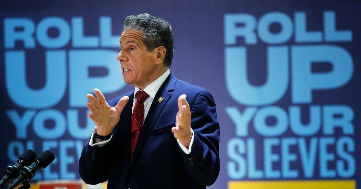 New York Gov. Andrew Cuomo answers a reporters question during a virtual news conference on April 23, 2021, in New York City.