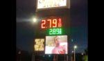A gas station sign displays an image mocking Hunter Biden.