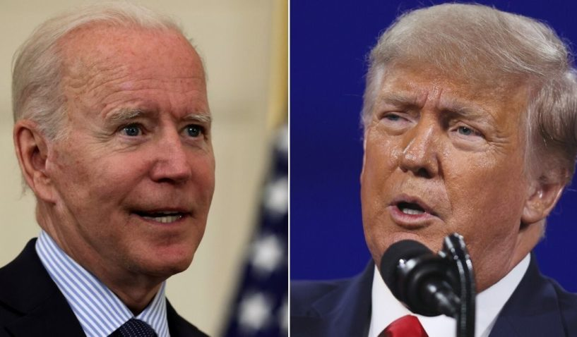 At left, President Joe Biden speaks in the State Dining Room of the White House in Washington on Tuesday. At right, former President Donald Trump addresses the Conservative Political Action Conference at the Hyatt Regency in Orlando, Florida, on Feb. 28.