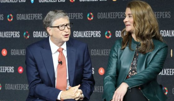 Bill Gates, left, and Melinda Gates speak during the Goalkeepers event at the Lincoln Center on Sept. 26, 2018, in New York.