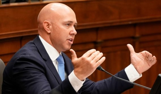 Republican Rep. Brian Mast of Florida speaks during a House Foreign Affairs Committee hearing on Capitol Hill in Washington on March 10.