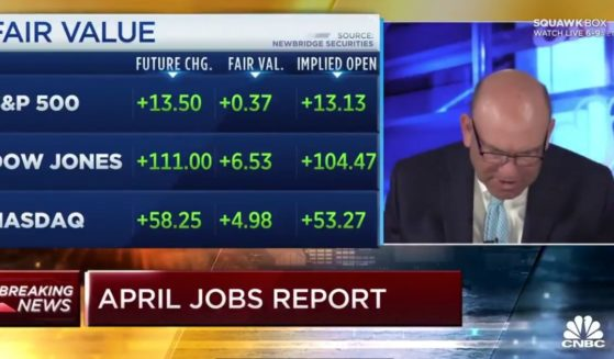 "Steve Liesman of CNBC's ""Squawk Box"" double-checks the numbers from April's jobs report on air."