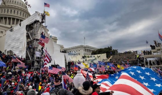 Protesters are seen outside the U.S. Capitol on Jan. 6, 2021, in Washington, D.C.