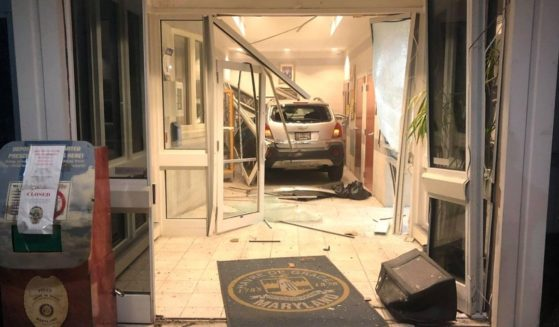 A man crashed his vehicle through the police station in Havre de Grace, Maryland.