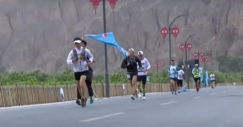 Runners participate in an ultramarathon in northwestern China.