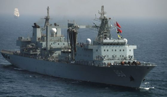 A Chinese Navy ship takes part in the multinational naval exercises 'AMAN-19' in the Arabian Sea near Pakistan's port city of Karachi on Feb.11, 2019.