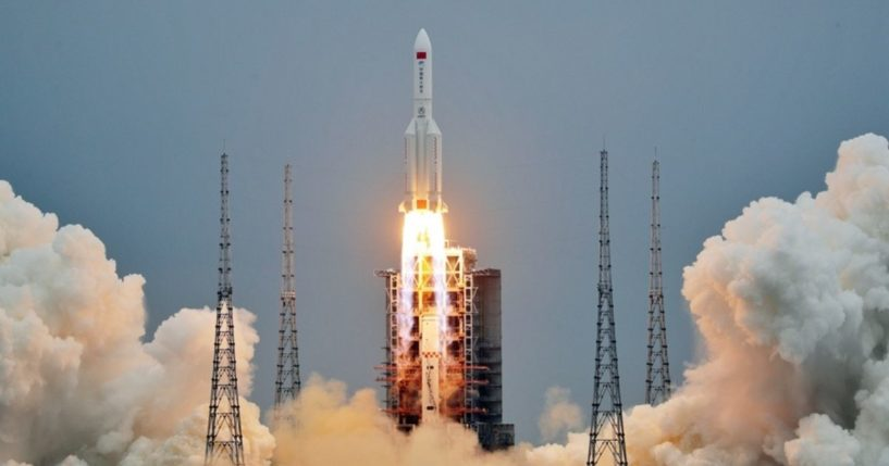 A Long March 5B heavy-lift rocket takes off from the Wenchang Space Launch Center in Hainan province, China, on April 29.