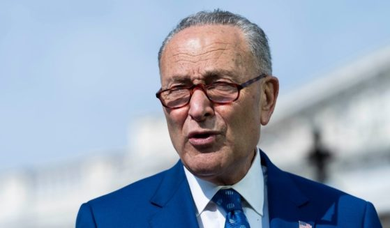 Senate Majority Leader Sen. Chuck Schumer of New York speaks during a news conference outside of the U.S. Capitol on April 28, 2021 in Washington, D.C.