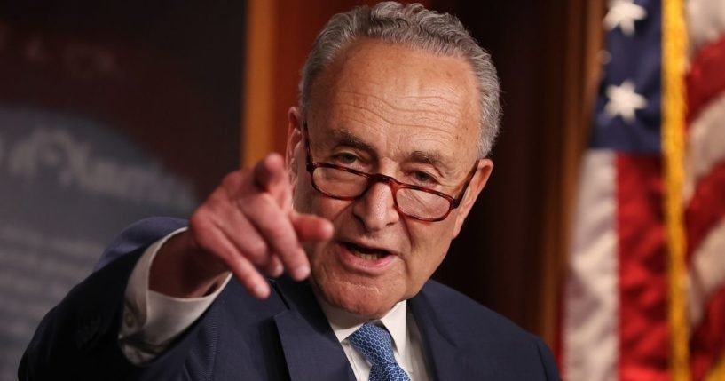 Senate Majority Leader Chuck Schumer talks to reporters after the Senate voted against the formation of an independent commission to investigate the attack at the U.S. Capitol on Friday in Washington, DC.