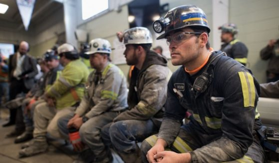 Coal miners are pictured at the Harvey Mine on April 13, 2017, in Sycamore, Pennsylvania.
