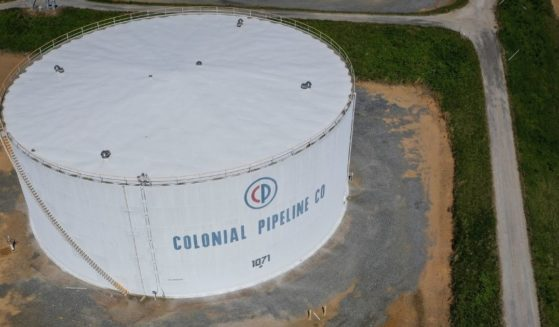 In an aerial view, fuel holding tanks are seen at Colonial Pipeline's Dorsey Junction Station on Thursday in Washington, D.C.