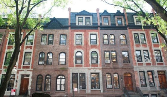 A view of the ten brownstones on West 94th Street that make up part of Columbia Grammar & Prep School's Lower School.