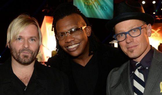 The members of dc Talk -- from left, Kevin Max, Michael Tait and TobyMac -- attend the GMA Honors Celebration and Hall of Fame Induction at the Allen Arena at Lipscomb University in Nashville, Tennessee, on April 29, 2014.