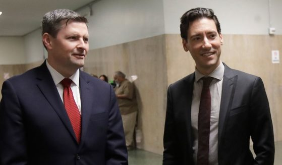 Pro-life activist David Daleiden, right, and one of his attorneys, Peter Breen, are pictured outside of a courtroom in San Francisco on Feb. 11, 2019.