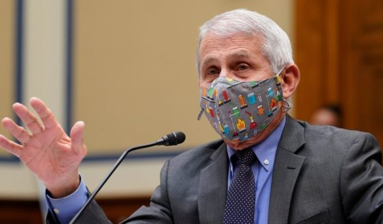 Dr. Anthony Fauci responds to a question during a House Select Subcommittee hearing on April 15, 2021 on Capitol Hill in Washington, D.C.